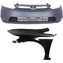 Bumper Cover - Front, Kit, Primed, For Sedan, Includes Front Left Fender