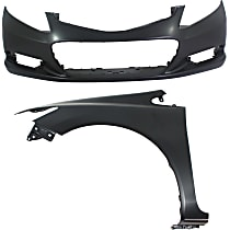 Bumper Cover - Front, Kit, Primed, For Coupe, Includes Front Left Fender, CAPA Certified