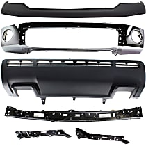 Bumper - Front, Chrome, with Upper Bumper Cover, Bumper Retainers and Lower Valance, without Park Assist Holes