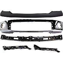Bumper - Front, Chrome, with Upper Bumper Cover and Bumper Retainers, without Park Assist Holes
