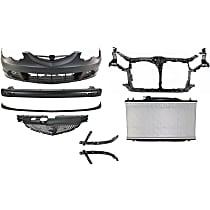 Front, Bumper Reinforcement, Bumper Cover, Bumper Bracket, Grille Assembly, Radiator Support, Radiator, and Valance Kit
