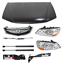Lift Support, Grille Assembly, Grille Trim, Headlight, Hood and Hood Hinge