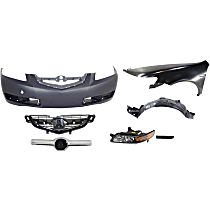 Replacement Bumper Cover, Side Marker, Fender, Splash Shield, Grille Assembly, Grille Trim and Headlight Kit