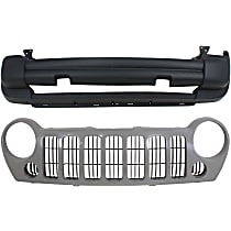 Grille Assembly - Primed Shell and Insert, without Fog Lights, CAPA Certified, with Front Bumper Cover