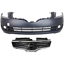 Grille Assembly - Chrome Shell with Painted Dark Gray Insert, with Front Bumper Cover, CAPA Certified