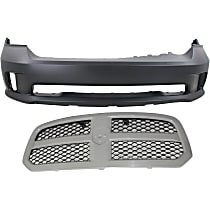 Grille Assembly - Painted Gray Shell with Textured Black Insert, Except Laramie Limited/Rebel Models, with Front Bumper Cover, 1-Piece Bumper Type
