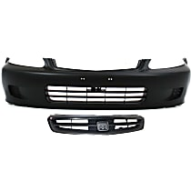 Bumper Cover - Front, Kit, Primed, For Coupe or Hatchback, Includes Grille (Paintable)