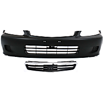 Bumper Cover - Front, Kit, Primed, For Sedan Models, Includes Grille (Chrome Shell With Black Insert)