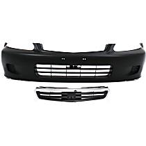 Bumper Cover - Front, Kit, Primed, For Sedan Models, Includes Grille (Chrome Shell With Black Insert)