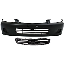 Bumper Cover - Front, Kit, Primed, For Sedan Models, Includes Grille (Textured Black Shell and Insert)
