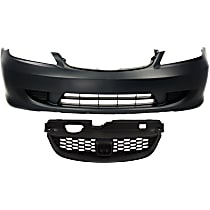 Bumper Cover - Front, Kit, Primed, For Coupe or Sedan, Includes Grille