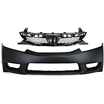 Bumper Cover - Front, Kit, Primed, For Sedan, Includes Grille
