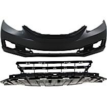 Bumper Cover - Front, Kit, Primed, For Sedan, Includes Bumper Grille, CAPA Certified
