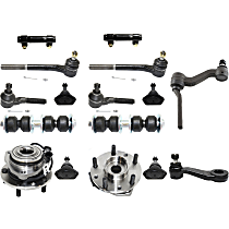 Replacement Pitman Arm, Ball Joint, Idler Arm, Wheel Hub, Sway Bar Link, Tie Rod End and Tie Rod Adjusting Sleeve Kit