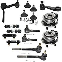 Idler Arm, Pitman Arm, Sway Bar Link, Tie Rod Adjusting Sleeve, Wheel Hub, Ball Joint and Tie Rod End Kit