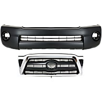 Grille Assembly - Chrome Shell with Black Insert, with Front Bumper Cover (with Fog Light, with Extension Holes)