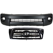 Grille Assembly - Paintable Shell and Insert, 2-Piece Assembly, Front Bumper Cover (with Fog Light, with Extension Holes)