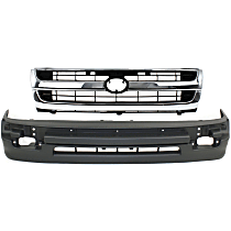 Grille Assembly - Chrome Shell with Painted Black Insert, with Front Bumper Cover