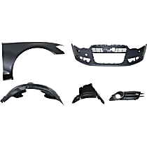 Fender Liner - Front, Passenger Side, Front and Rear Section, with Front Bumper Cover, Right Fog Light Trim and Right Fender