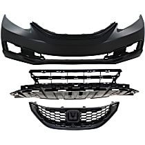 Bumper Cover - Front, Kit, Primed, For Sedan, Includes Bumper Grille and Grille