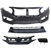 Bumper Cover - Front, Kit, Primed, Includes Bumper Grille, Grille and Left Fog Light Cover