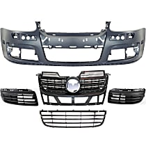 Grille Assembly - Matte Black Shell and Insert, with Front Bumper Cover, Front Bumper Grille and Right and Left Fog Light Covers
