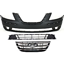 Grille Assembly - Painted Black Shell and Insert, with Front Bumper Cover and Front Bumper Grille