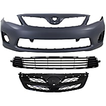 Grille Assembly - Painted Black Shell and Insert, CE/L/LE Models, with Front Primed Bumper Cover (without Spoiler Holes) and Bumper Grille