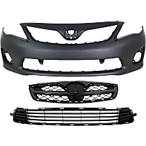 Grille Assembly - Painted Black Shell and Insert, S/XRS Models, with Front Primed Bumper Cover (with Spoiler Holes) and Bumper Grille, CAPA Certified