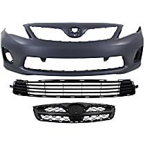 Grille Assembly - Painted Black Shell and Insert, CE/L/LE Models, with Front Primed Bumper Cover (without Spoiler Holes) and Bumper Grille, CAPA Certified
