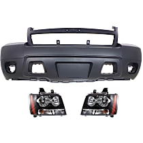 Bumper Cover - Front, Kit, Primed, For Models Without Off Road Package (Round Fog Lights), Includes Headlights, With Tow Hook Hole, CAPA Certified