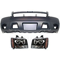 Bumper Cover - Front, Kit, Primed, For Models Without Off Road Package (Round Fog Lights), Includes Headlights, With Tow Hook Hole