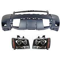 Bumper Cover - Front, Kit, Primed, For Models With Off Road Package (Rectangular Fog Lights), Includes Headlights