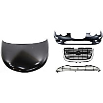 Hood - Primed, with Front Bumper Cover, Center Bumper Grille and Center Grille Assembly