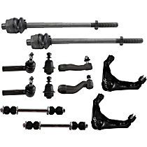 Control Arm - Front, Driver and Passenger Side, Upper, with Idler Arm, Pitman Arm, Sway Bar Links, Lower Ball Joints, and Inner and Outer Tie Rod Ends