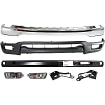 Bumper - Front, Chrome, with Bumper Brackets, Bumper Reinforcement, Lower Valance and Turn Signal Lights
