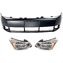 Bumper Cover - Front, Kit, Primed, For Sedan, Includes Headlights