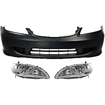 Bumper Cover - Front, Kit, Primed, For Coupe or Sedan, Includes Headlights