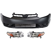 Bumper Cover - Front, Kit, Primed, For Coupe Models With 5 Speed Manual or Automatic Transmission, Includes Headlights