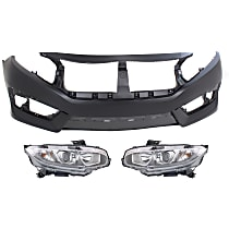 Bumper Cover - Front, Kit, Primed, Includes Headlights