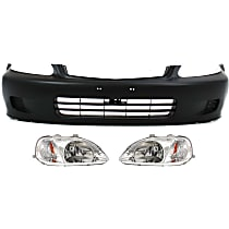 Bumper Cover - Front, Kit, Primed, For Canada, Japan or US Built Models , Includes Headlights