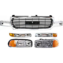 Grille Assembly - Chrome Shell with Painted Black Insert, with Right and Left Headlights and Right and Left Parking Lights
