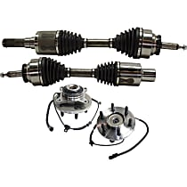 Axle Assembly - Front, Driver and Passenger Side, 4WD, with Front Right and Left Wheel Hubs