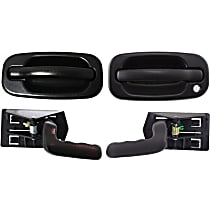 Interior Door Handle - Front, Driver and Passenger Side, Textured Black, with Exterior Door Handles (Left with Key Hole/Right without Key Hole)
