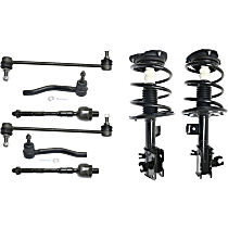 Replacement Shock Absorber and Strut Assembly, Tie Rod End and Sway Bar Link Kit