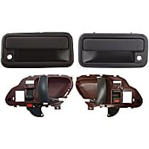 Interior Door Handle - Front, Driver and Passenger Side, Red Bezel with Black Lever, with Exterior Door Handles
