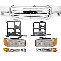 Grille Assembly - Chrome Shell and Insert, Except Denali Model, with Right and Left Headlights, Right and Left Headlight Brackets and Right and Left Parking Lights