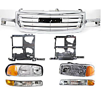 Headlights - Driver and Passenger Side, Kit, All Cab Types, 1999-2007 Body Style, For Hybrid, SL, SLE, SLT And WT, With Bulb(s), With Grille, Parking Lights and Headlight Brackets