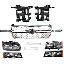 Headlights - Driver and Passenger Side, Kit, With Bulb(s), Fluted Reflector, With Honeycomb Grille and Trims, Turn Signals and Brackets