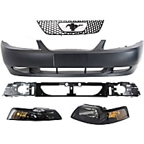 Header Panel - with Grille Assembly, Front Bumper Cover and Right and Left Black Interior Headlights